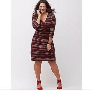Lane Bryant Plus Size Faux Wrap Sweater Dress